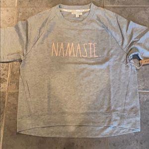 Rae dunn grey Namaste sweatshirt with pink letter